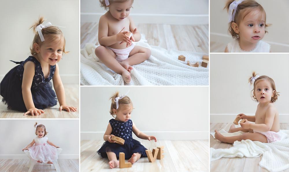 Sesión de fotos de bebé en estudio