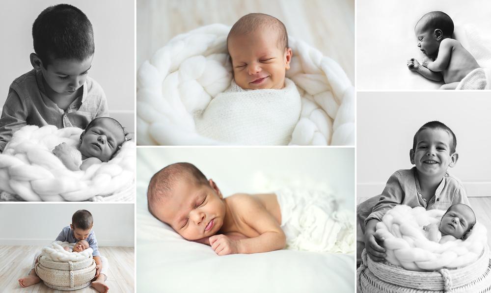 Sesiones de fotos de recién nacido con hermanos inquietos