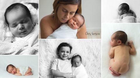 Sesión de fotos de recién nacido en estudio con luz natural en Madrid