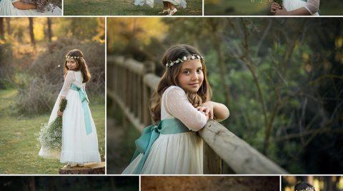 Collage de una sesión de fotos de una niña de pelo castaño con traje de comunión en exteriores.