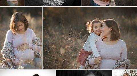 Esto es un collage de una sesión de fotos en el campo, de una familia con una niña de 2 años y la mamá embarazada de 8 meses.